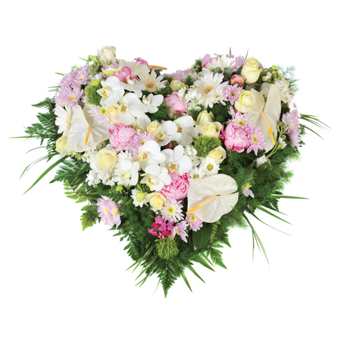 Archange coeur fleurs deuil dans les tons rose et blanc compos de roses or - Fleur en forme de coeur ...