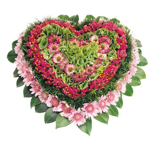 Paix coeur fleurs deuil dans les tons rose et parme 6 for Livraison fleurs paypal
