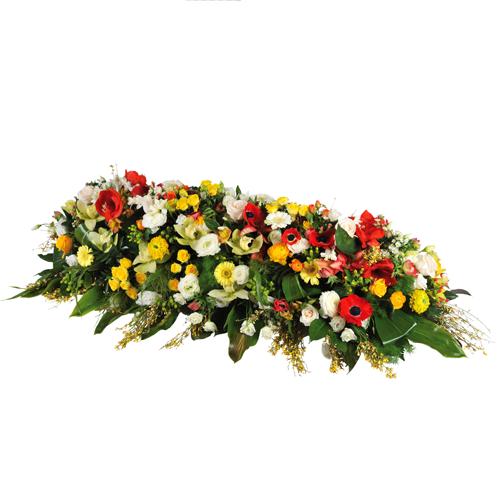 Grande raquette fleurs pour deuil dans les tons de jaune for Livraison fleurs paypal