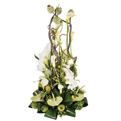 l 39 instant composition fleurs deuil moderne blanche avec roses orchid es et autres fleurs. Black Bedroom Furniture Sets. Home Design Ideas
