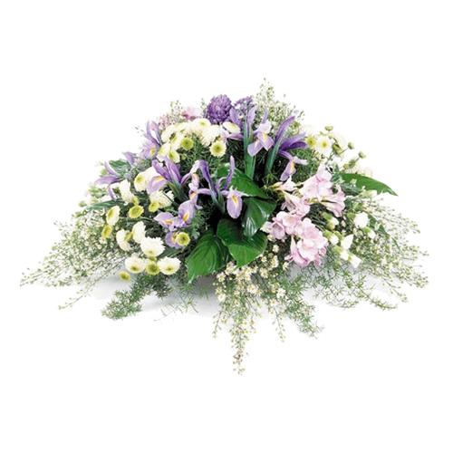 Livraison compotion fleurs deuil dans les tons mauve et blanc for Livraison fleurs paypal