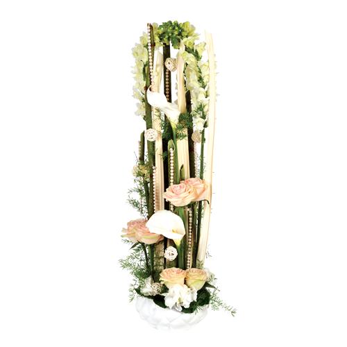 Composition fleurs mariage po sie blanc et p che roses blanches anthuriums - Composition fleur mariage ...