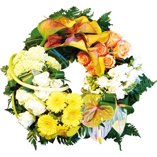 Couronne de fleurs deuil r v rence compos de callac for Livraison fleurs paypal
