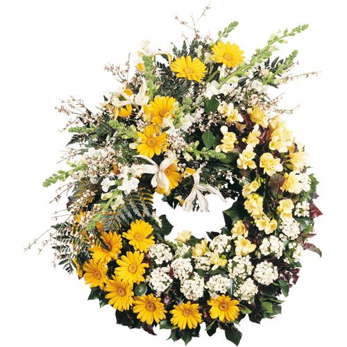 Couronne fleurs deuil lumi re eternelle dans les tons for Livraison fleurs paypal