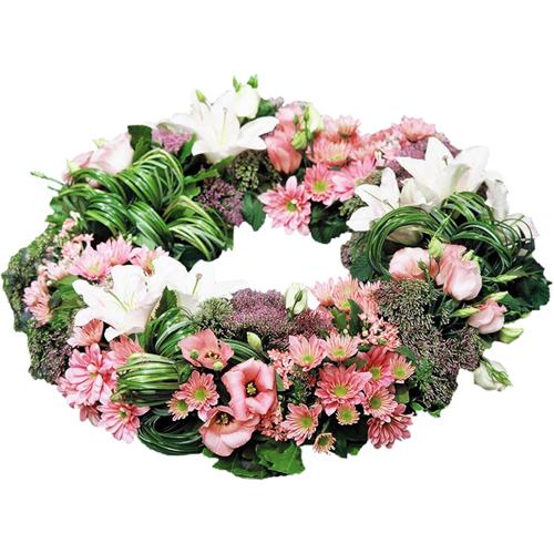 Les couronnes fleurs deuil de qualit extra pastel ou for Fleurs livrees