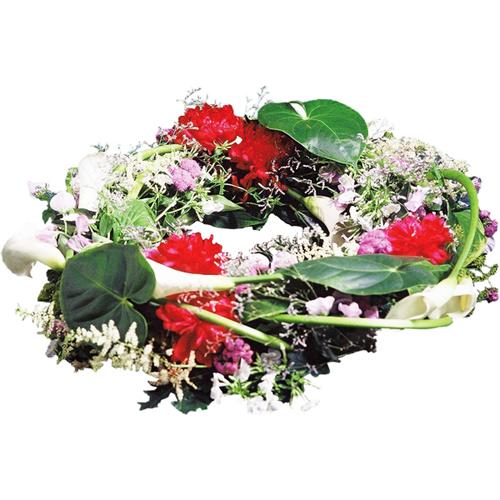 couronne fleurs deuil repos dans les tons de rouge blanc. Black Bedroom Furniture Sets. Home Design Ideas