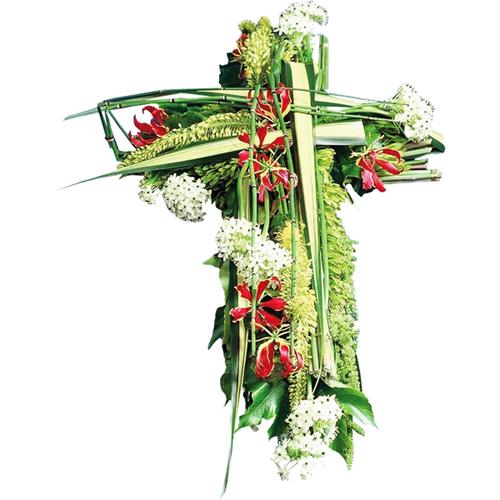 Foi croix deuil en fleurs moderne dans les tons de vert for Livraison fleurs paypal