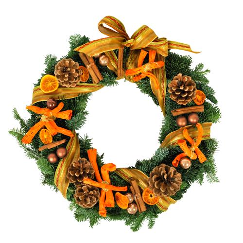 Couronne de l avent dans les tons orange et vert compos e de fagot de cannell - Couronne de l avent achat ...