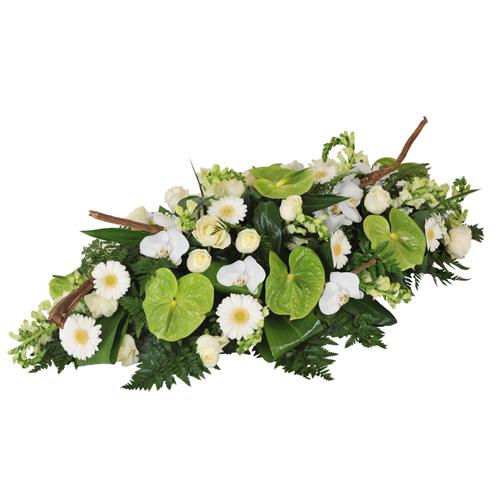 Comm moration livraison raquette fleurs deuil vert et for Livraison fleurs paypal