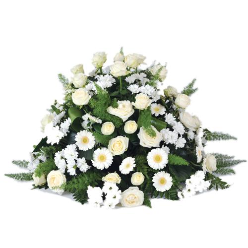 composition de fleurs deuil dans les tons blanc et vert compos de roses blanches gerberas. Black Bedroom Furniture Sets. Home Design Ideas