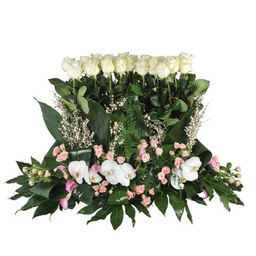 Raquette fleurs deuil dans les tons rose et blanc avec for Livraison fleurs paypal