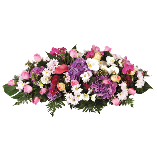livraison raquette fleurs deuil tons parme rouge et blanc compos e d 39 hortensia parmes d. Black Bedroom Furniture Sets. Home Design Ideas