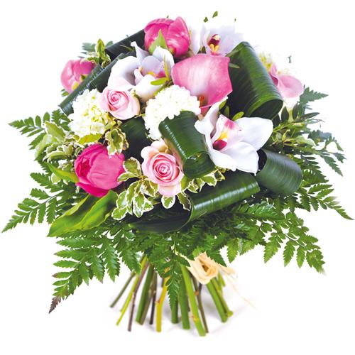 Bouquet rond color tons rose et blanc livraison de fleurs for Livraison fleurs paypal