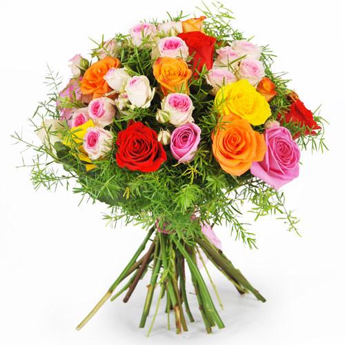 Livraison bouquet rond roses multicolores domicile for Livraison fleurs paypal