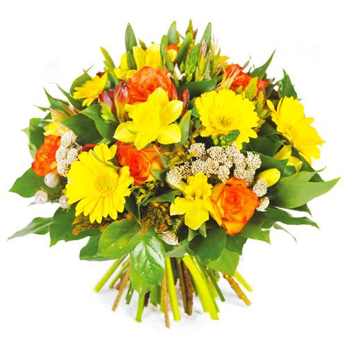 Envoie de fleurs bouquet rond printanier color for Livraison fleurs paypal