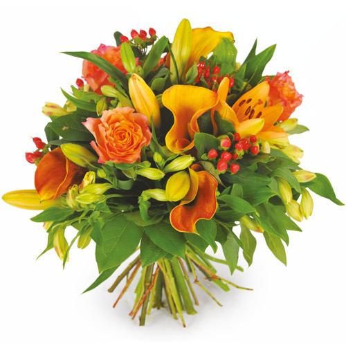 Bouquet de fleurs rond tons orang s 1achat 1don for Livraison fleurs paypal