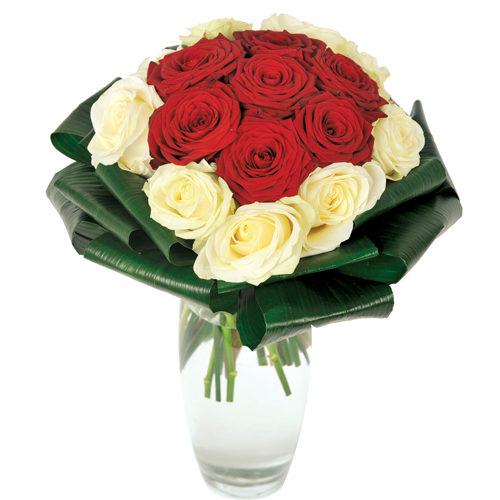 bouquet rond roses blanches et roses rouges St valentin