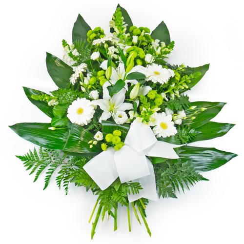 Gerbe de fleurs blanches enterrement fleurs deuil for Livraison fleurs paypal