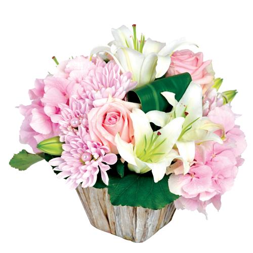 Composition florale dans les tons rose et blanc avec lys for Composer bouquet en ligne